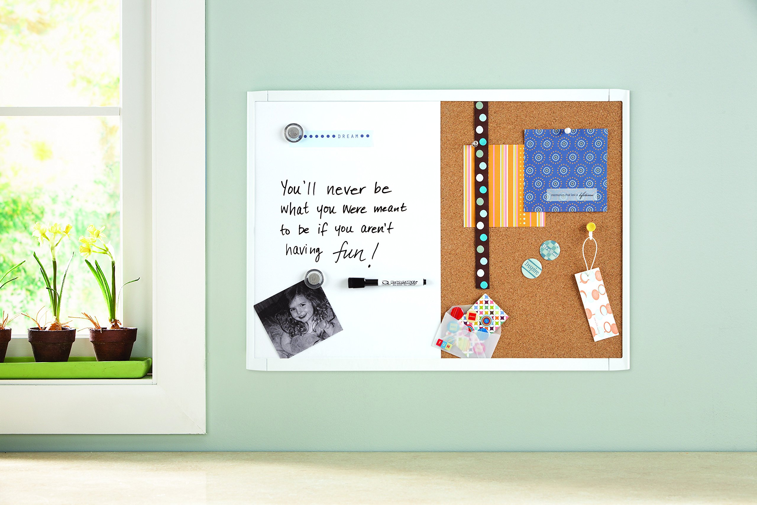 Quartet White Magnetic and Combination Board, 17 x 23 Inches, Frame Color May Vary (21-580653Q) by Quartet (Image #2)