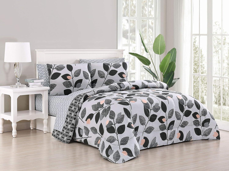 Geneva Home Fashion Kenna Bed in a Bag, Queen, Black/Grey