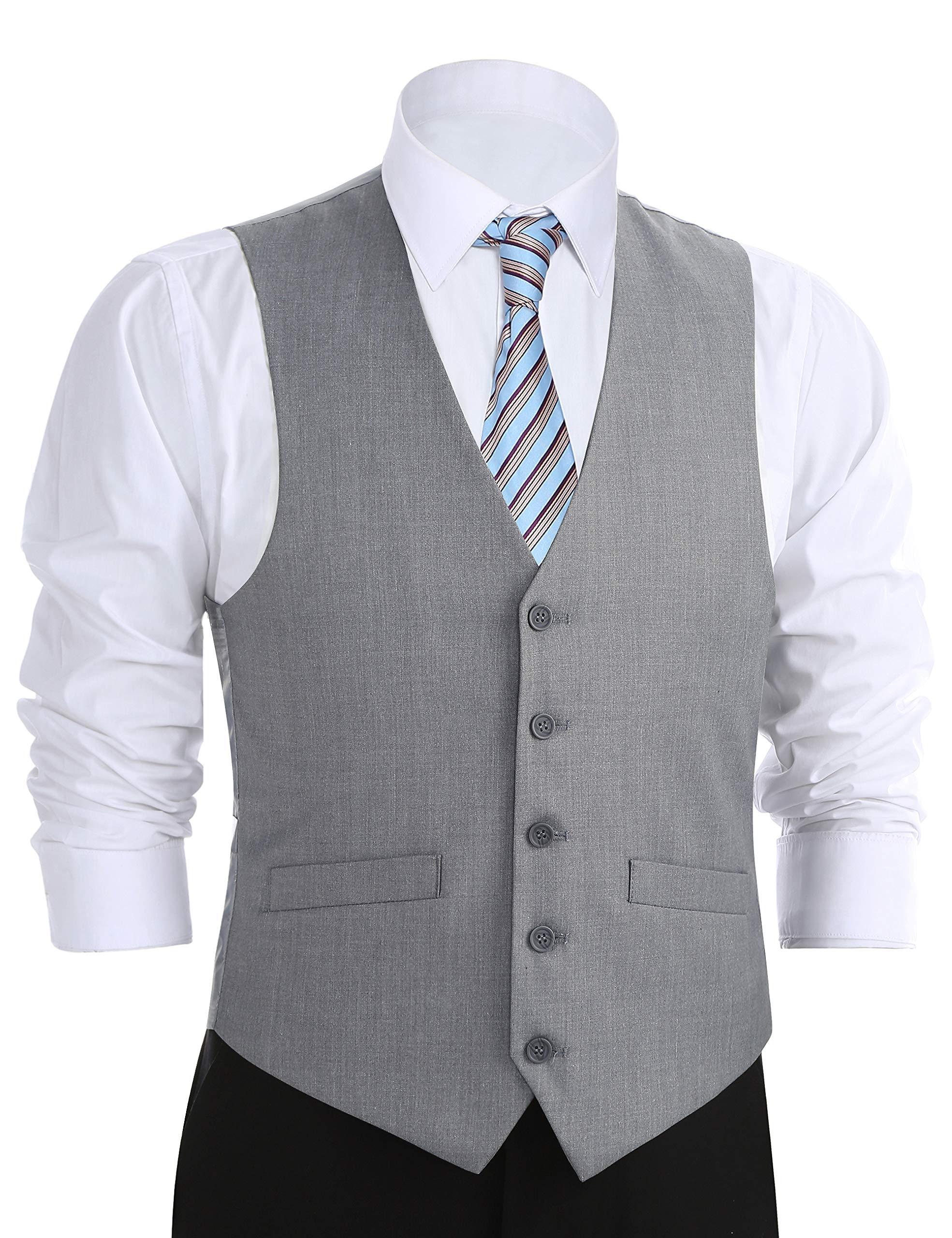 Chama Men's Formal Classic Fit Business Dress Suit Button Down Vest Waistcoat (44 Regular, Light Grey)