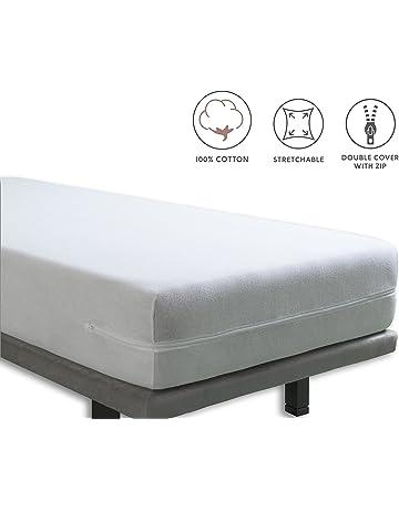 Tural – Funda de colchón elástica con Cremallera. Rizo 100% Algodón