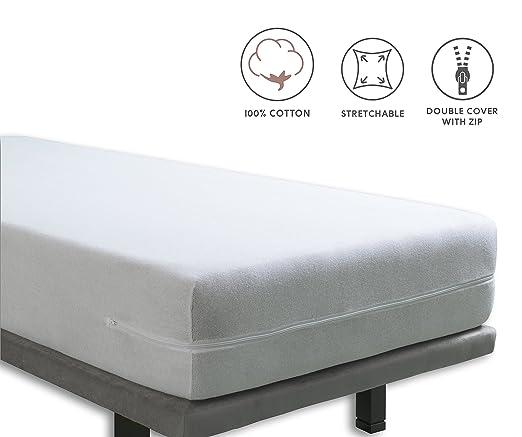 Tural - Funda de colchón elástica con Cremallera. Rizo 100 ...