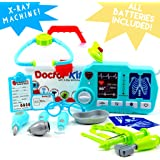 Toy Doctor Kit for Kids & Toddlers, X-Ray Machine, Lights and Sounds, Premium 20 Piece Set with Carry Case, ALL BATTERIES INCLUDED with our doctor playset!