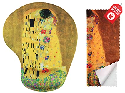 fc8be7072bb Gustav Klimt The Kiss Ergonomic Design Mouse Pad with Wrist Support. Gel  Hand Rest.