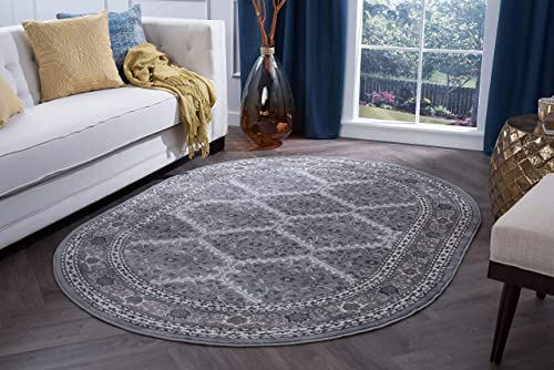 Beauregard Traditional Oriental Gray Oval Area Rug, 5 x 7 Oval