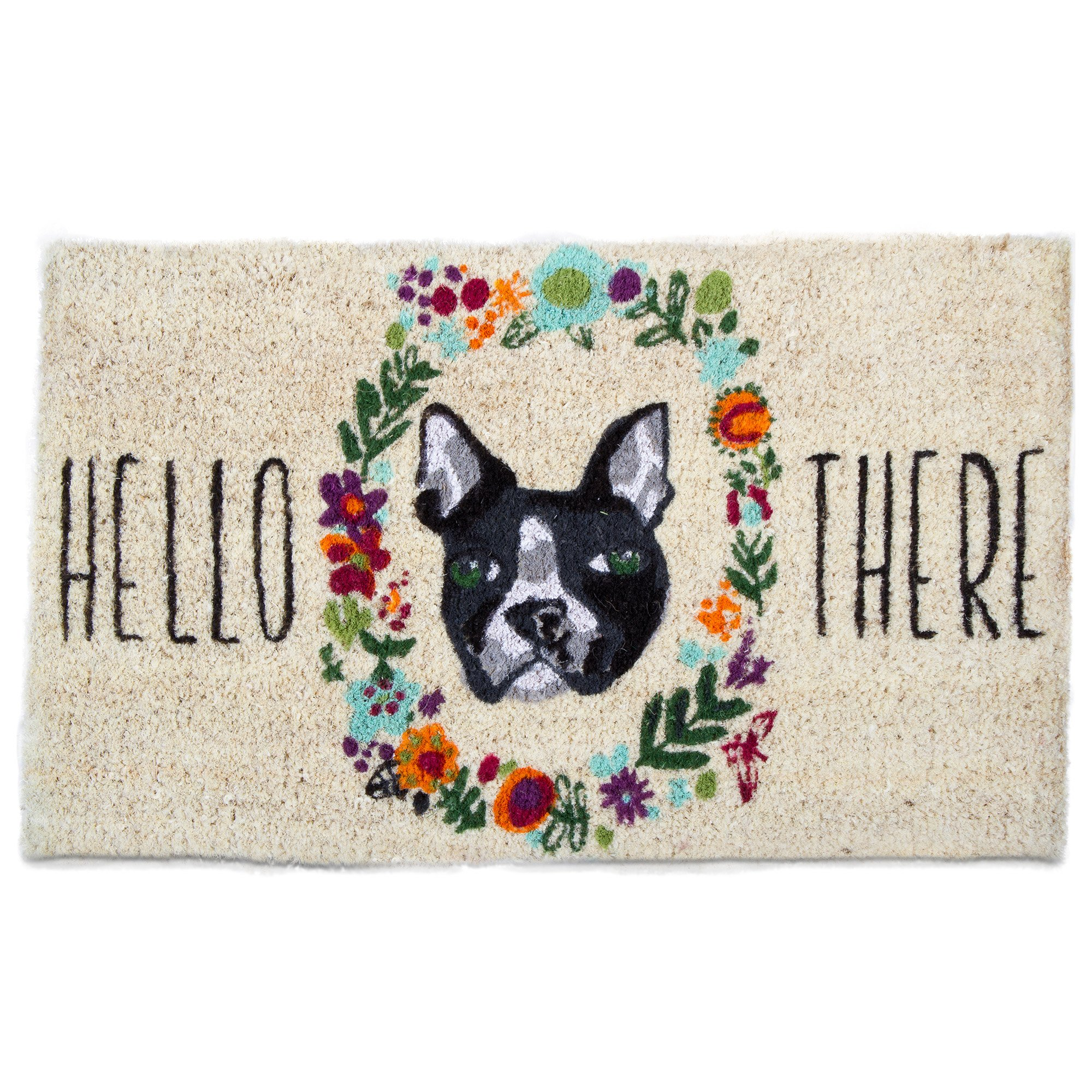 tag - Hello There Dog Coir Mat, Decorative All-Season Mat for the Front Porch, Patio or Entryway, Multi