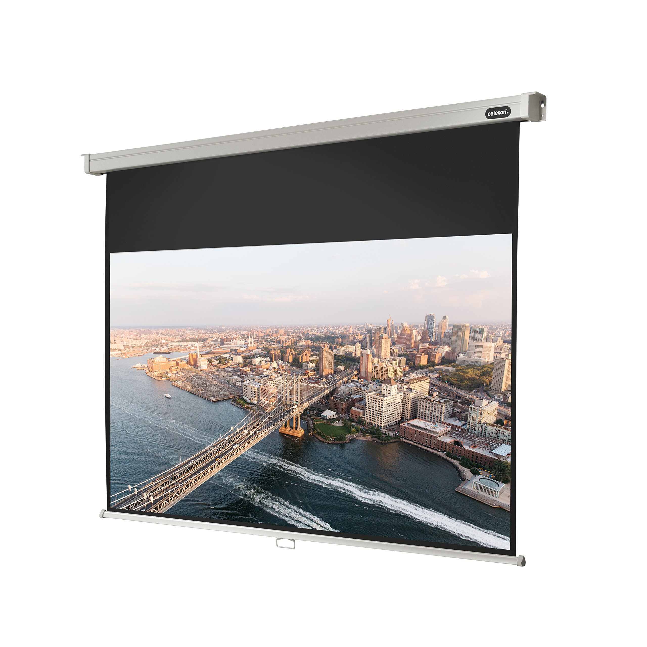 celexon 81'' Manual Professional Plus pull down projection screen, 71 x 40 inches viewing area, 16:9 format, Wall or ceiling mounting, Gain factor of 1.2