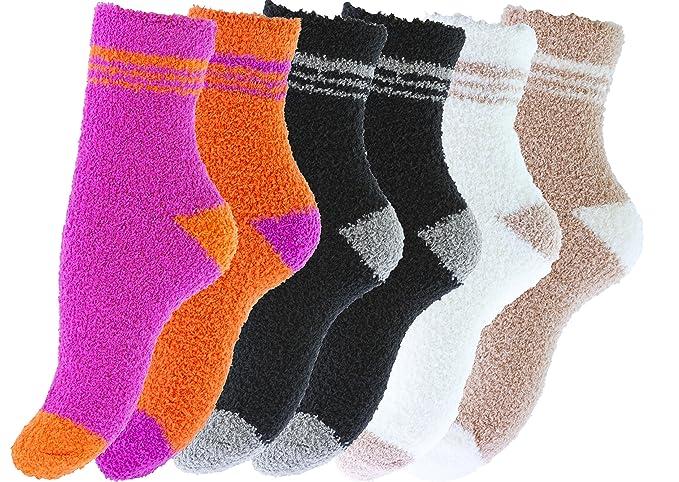 Pack de 6 pares de calcetines para dormir suaves en varios color con rayas