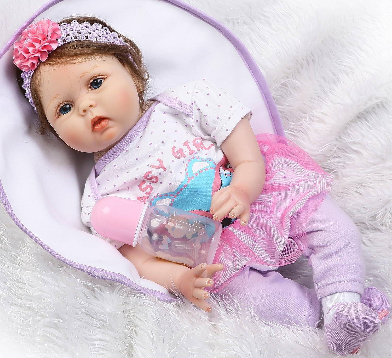 EN71 Certificatio Lifelike Reborn Baby Doll with Soft Body Realistic Vinyl 22 inch Newborn Doll Toys Age 3+