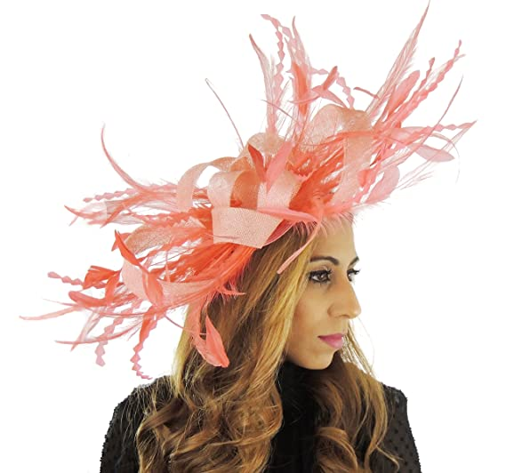 Hats By Cressida Coral Pink Large Feather Fascinator Hat for Ascot ... 7d15131a3c9