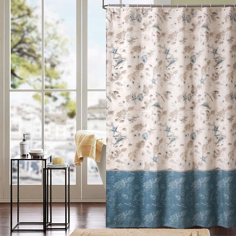 Amazon.com: Ufriday Blue and White Starfish Shower Curtain Fabric ...