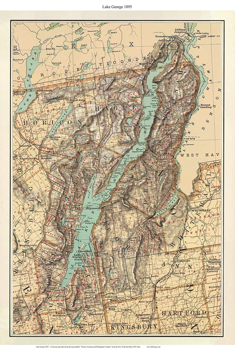 State Map Of New York.Amazon Com Lake George 1895 Map New York Custom Reprint Bien State