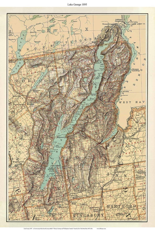 State Map New York.Amazon Com Lake George 1895 Map New York Custom Reprint Bien State
