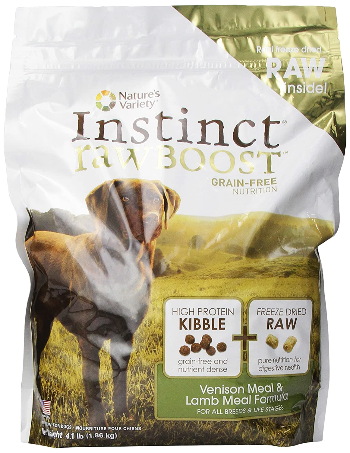 Instinct Raw Boost Grain-Free Venison Meal Lamb Meal Formula Dry Dog Food By Nature S Variety, 4.1-Pound Bag