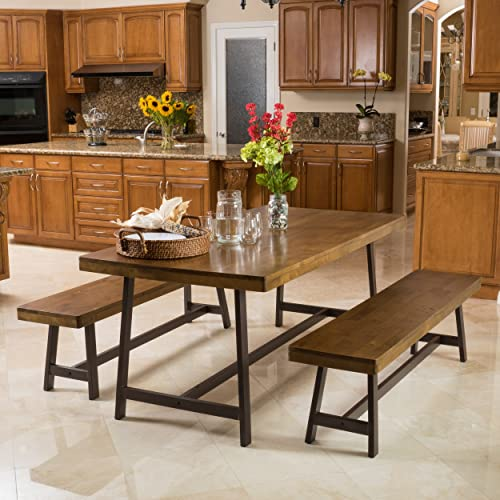 Christopher Knight Home Hamilton Acacia Oak Foldable 3pc Dining Set, 70.47 L x 35.43 W x 29.13 H