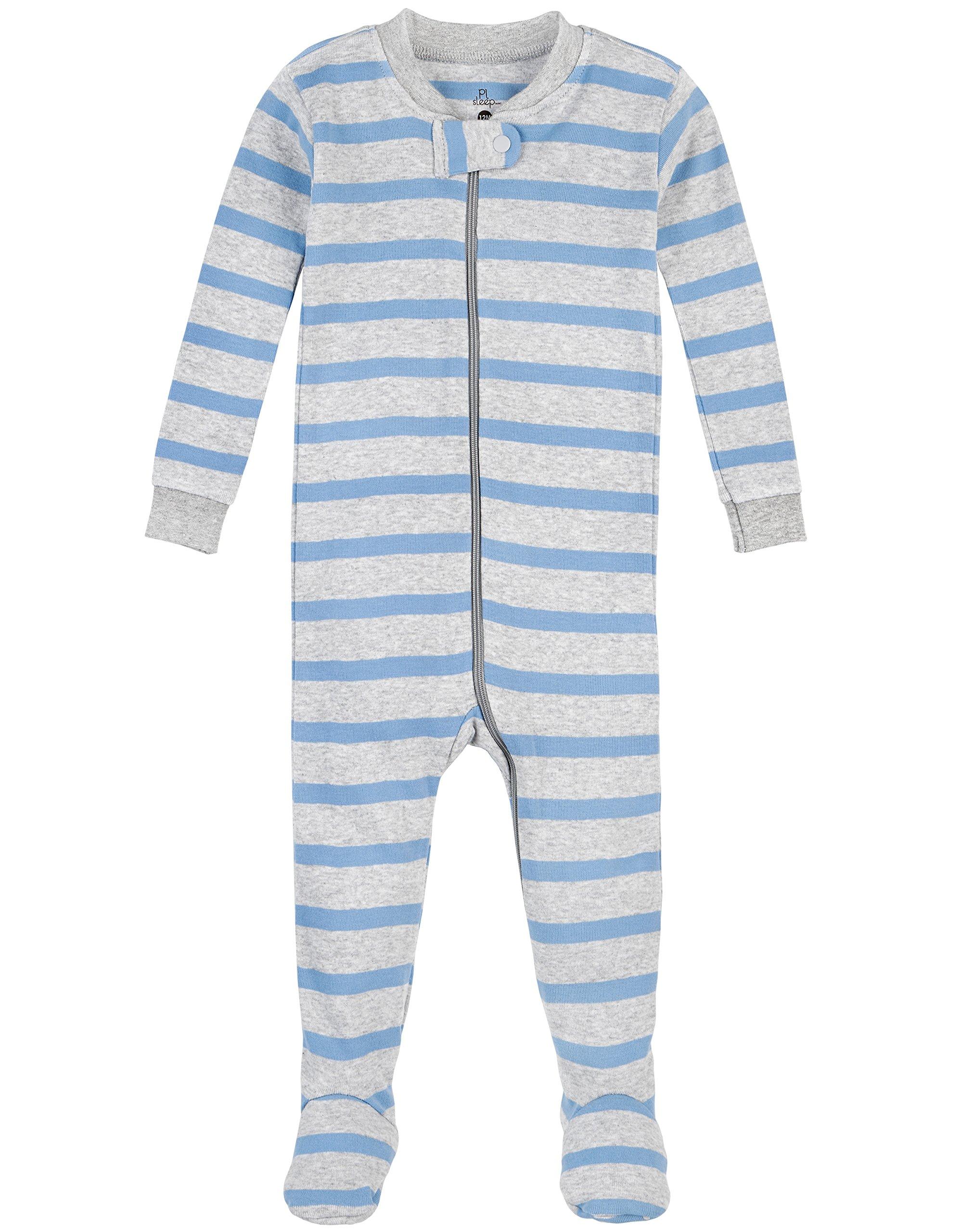 Petit Lem Boys' Sky Stripe 1 Piece Footie Pajama, Blue/Grey, 24M by Petit Lem