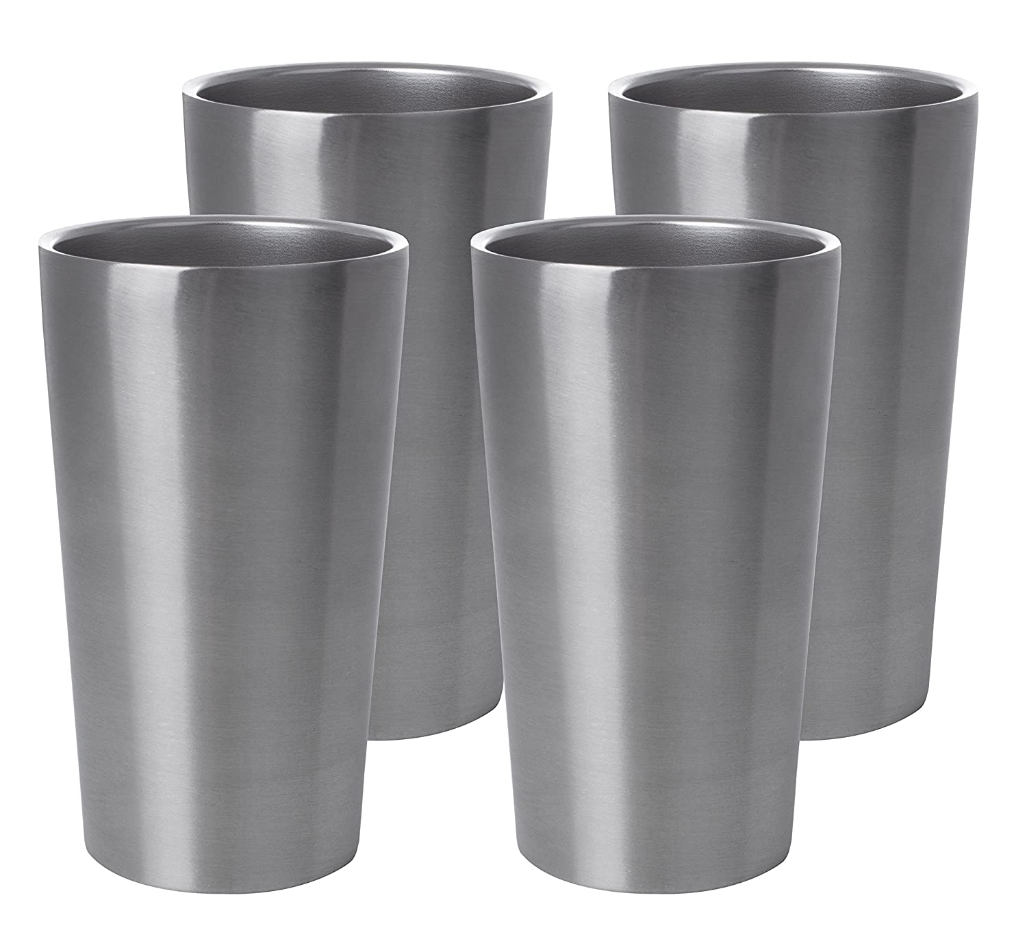 Maxam Stainless-Steel 4-piece Double Wall 13 oz. Tumbler Set, Unbreakable Drinking Containers Ideal for Outdoor Use