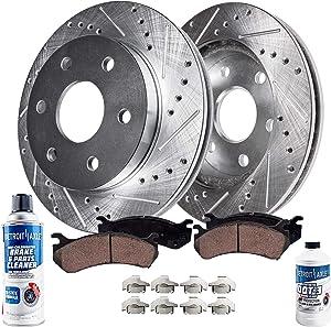 Detroit Axle - Drilled & Slotted Rear Brake Kit Rotor Performance GRADE Set & Brake Kit Pads w/Clips Hardware Kit & Brake Kit CLEANER & FLUID for 2005-2011 Ford F-150 - [2006-2008 Lincoln Mark LT]