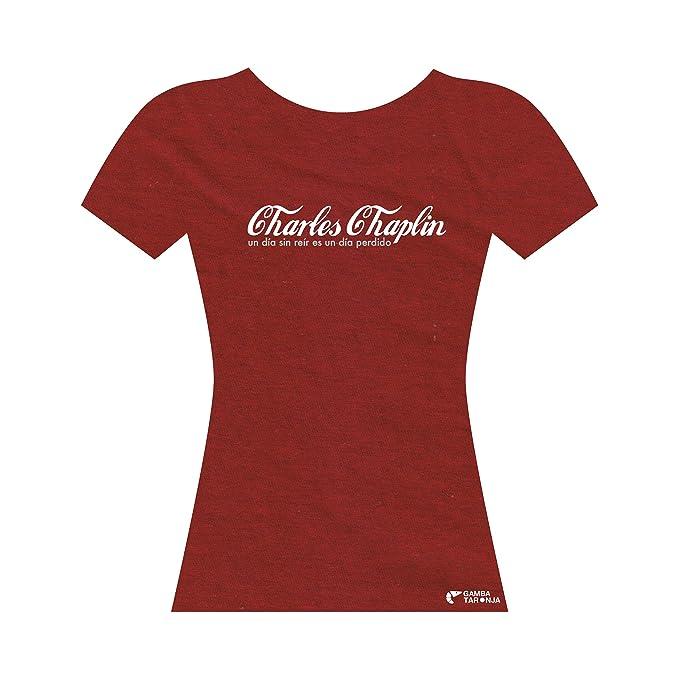 GAMBA TARONJA Charles Chaplin - Camisetas - Chica - Charlot - Cine - Un Dia Sin REIR ES Un Día Perdido: Amazon.es: Ropa y accesorios