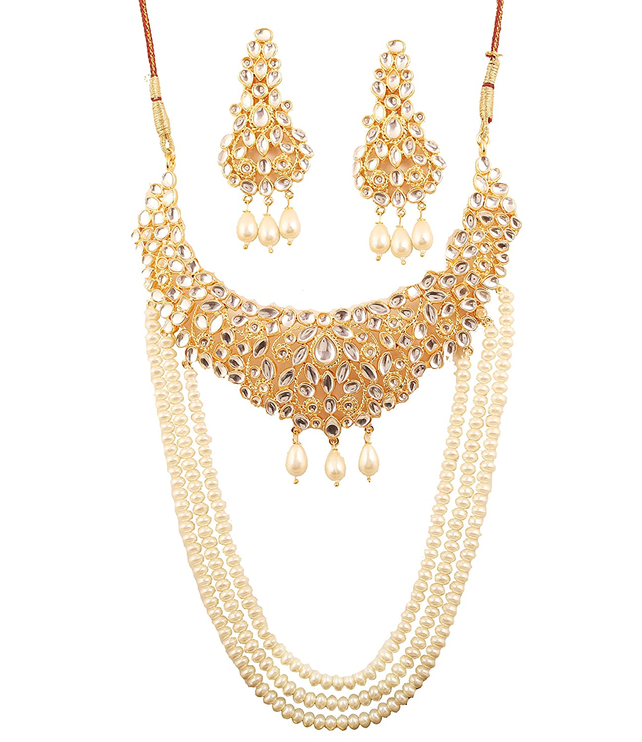Cheap Price Traditional Indian Wedding Gold Tone Kundan Necklace Earrings Set Jewellery Rich And Magnificent Bridal & Wedding Party Jewelry Engagement & Wedding