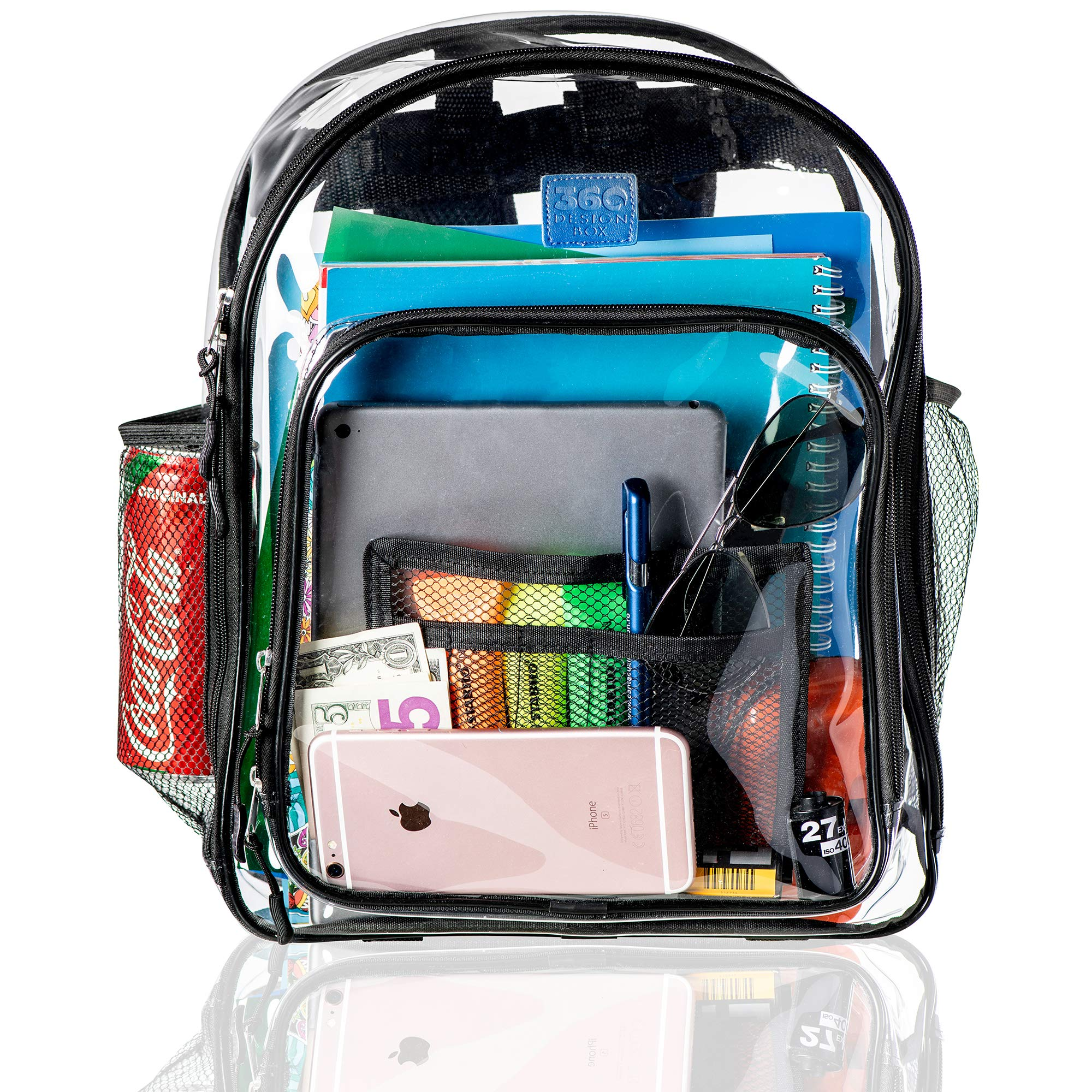Clear Backpacks for School, Transparent Plastic Backpack for Travel, Clear Bag for Work with Pockets and Adjustable Padded Straps, See Through Bookbag and Matching Pencil Case - Black by 360 DESIGN BOX