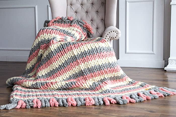 Amazoncom Chunky Wool Blanket Pink Gray White Knitted Blanket