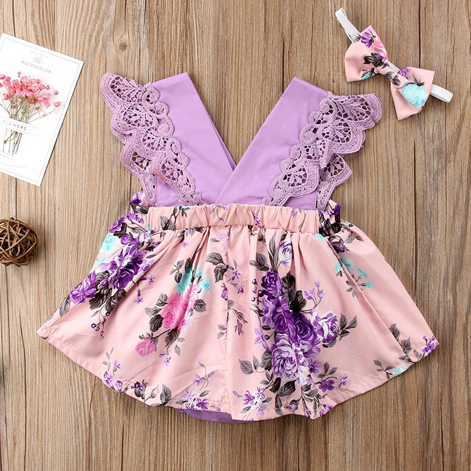HappyMA Toddler Baby Girl Clothes Floral Dress Lace Ruffle Sleeveless Backless Skirt with Headband 2Pcs Outfit (Purple, 12-18 Months) by HappyMA (Image #3)