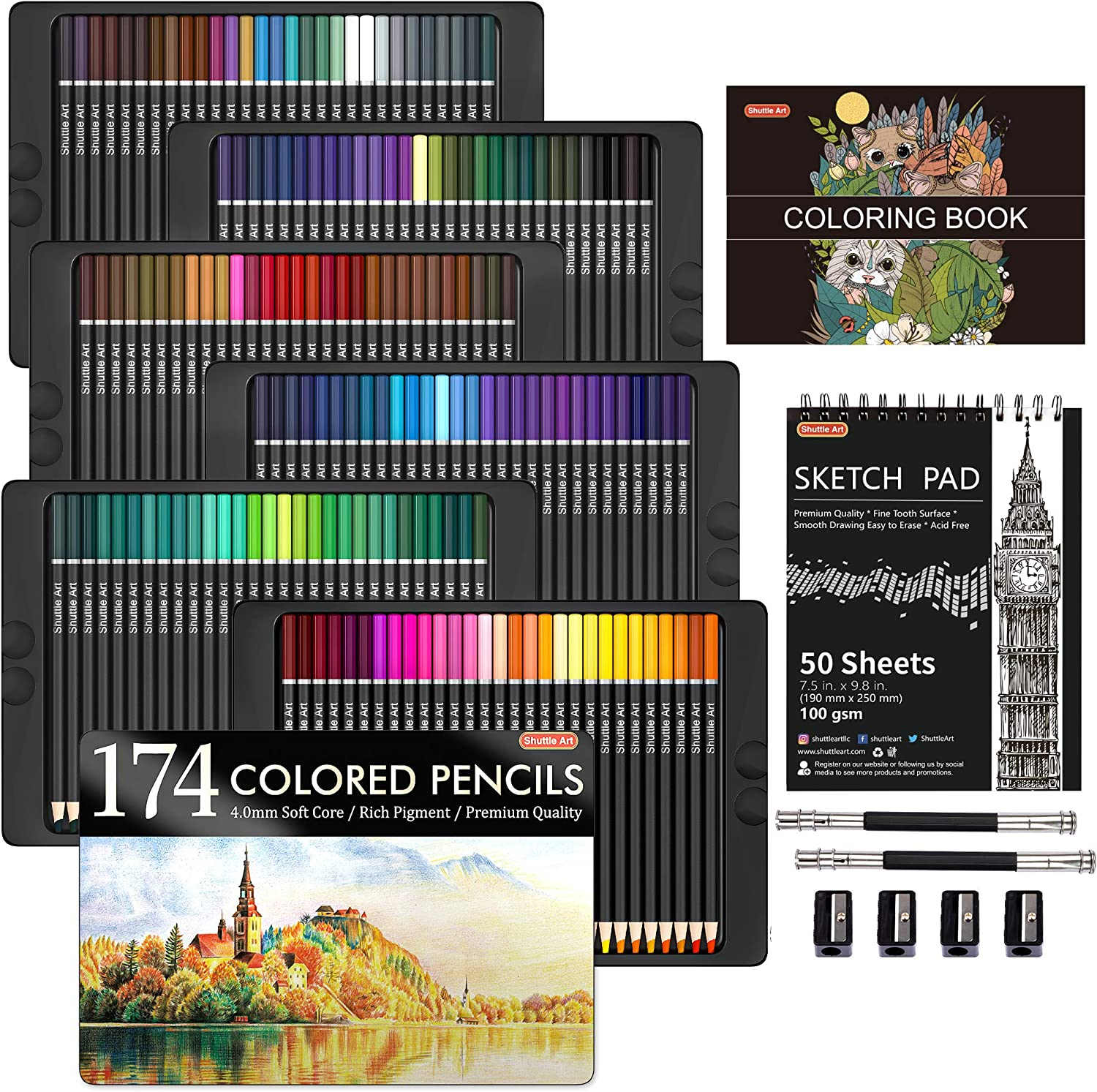 174 Colors Professional Colored Pencils, Shuttle Art Soft Core Coloring Pencils Set with 1 Coloring Book,1 Sketch Pad, 4 Sharpener, 2 Pencil Extender, Perfect for Artists Kids Adults Coloring, Drawing