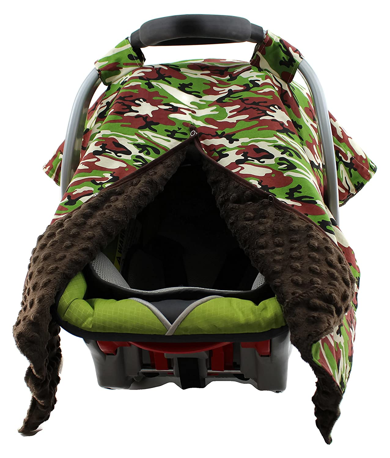 100% True Baby Infant Car Seat Cover And Hood Cover Mossy Oak Camo And Brown Minky Car Safety Seats