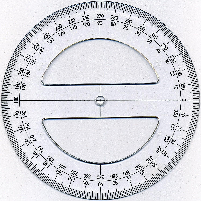 360 Degree Circular Protractor In Clear Plastic 15cm Diameter Generic Diagram
