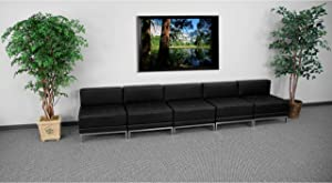 Flash Furniture Black Leather Lounge Set, 5 PC, 140