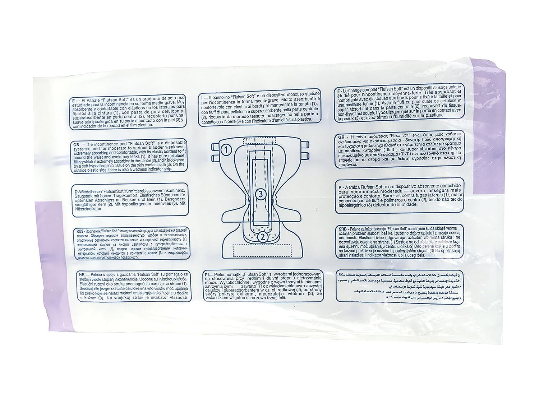 FLUFSAN Pañales para adultos todo en día Pañales transpirables extra grandes, SIN LÁTEX, 70+ KG, 120 - 170 cm / 47- 67 pulgadas, paquete de 15 pañales: ...