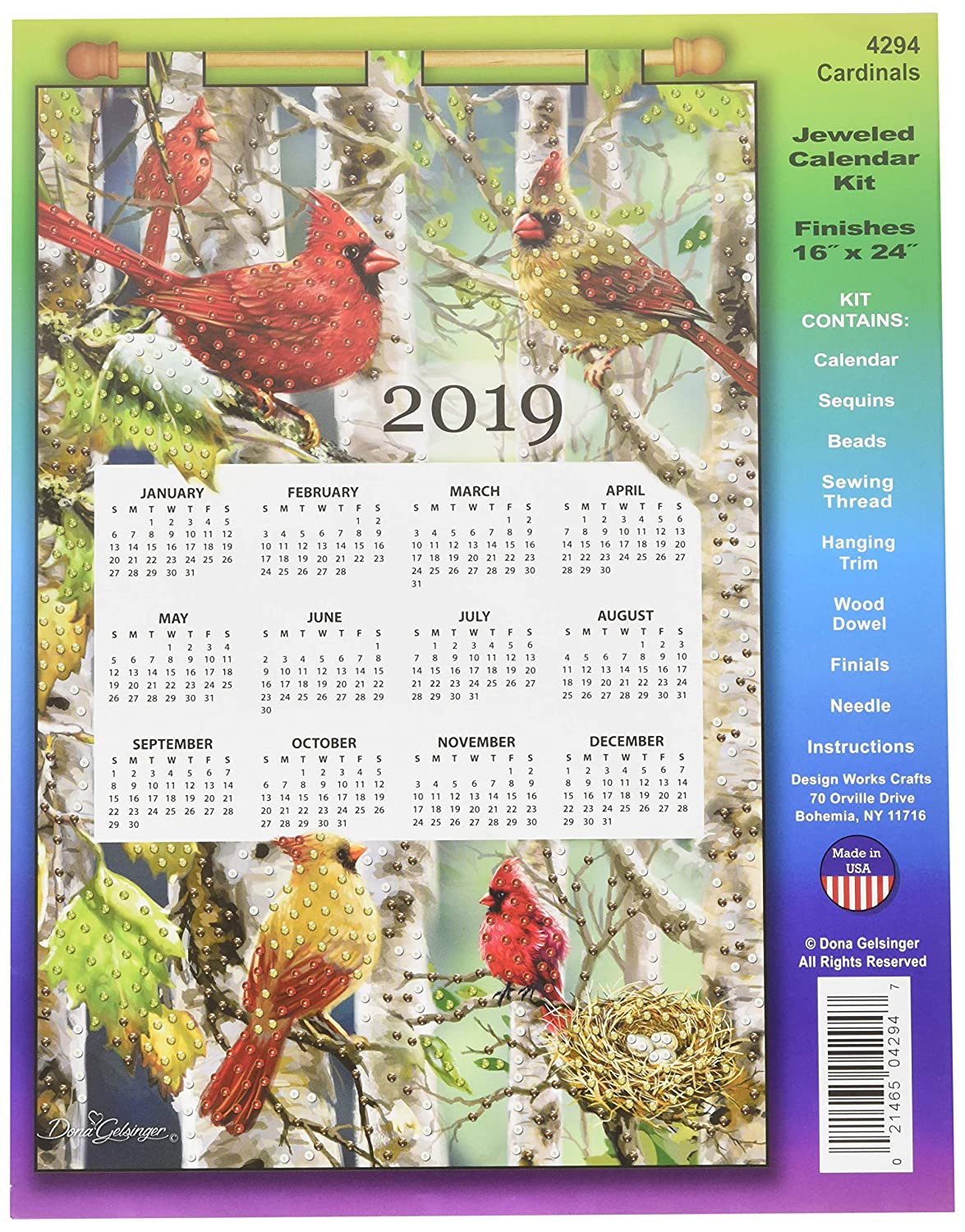 Mary Maxim DW4294 Design Works Sequin Calendar 2019 Cardinals, Design Works Crafts