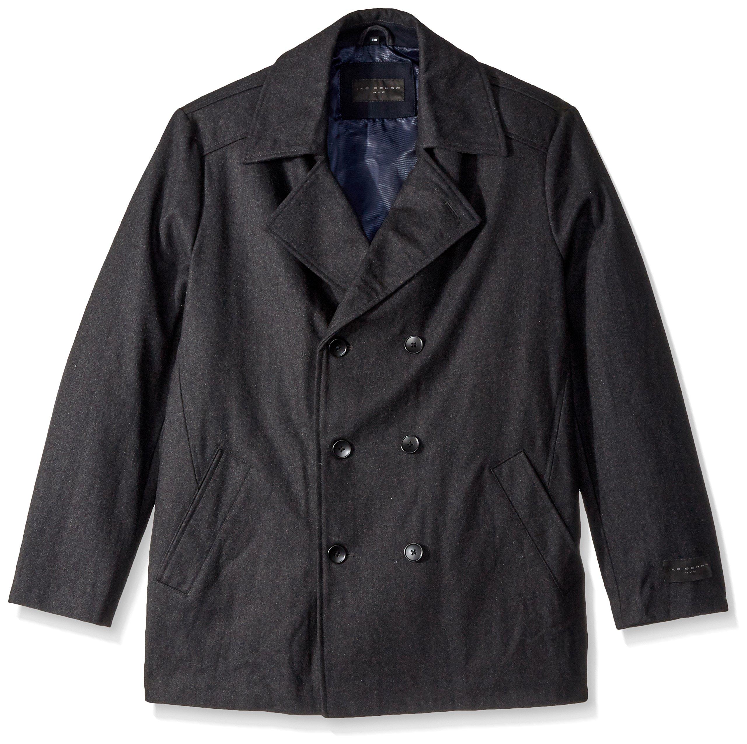 Ike Behar Men's Big Abrams Pea Coat, Charcoal, 2X Tall