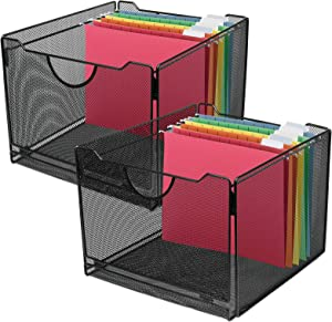 Greenco Mesh Office File Organizer Foldable Storage Box with Side Hanging Rails – Black (2 Pack)
