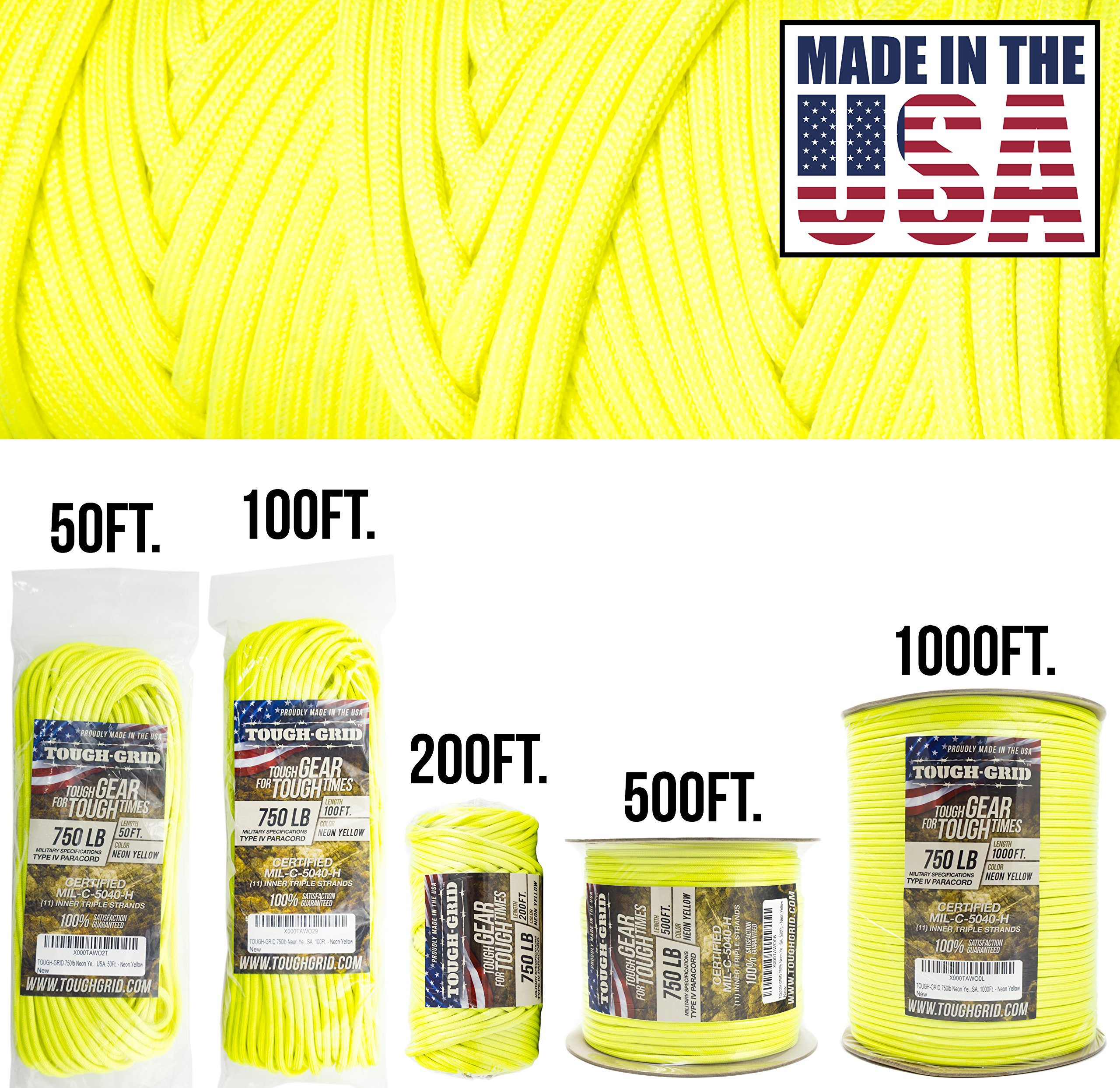 TOUGH-GRID 750lb Neon Yellow Paracord/Parachute Cord - Genuine Mil Spec Type IV 750lb Paracord Used by The US Military (MIl-C-5040-H) - 100% Nylon - Made in The USA. 500Ft. - Neon Yellow by TOUGH-GRID