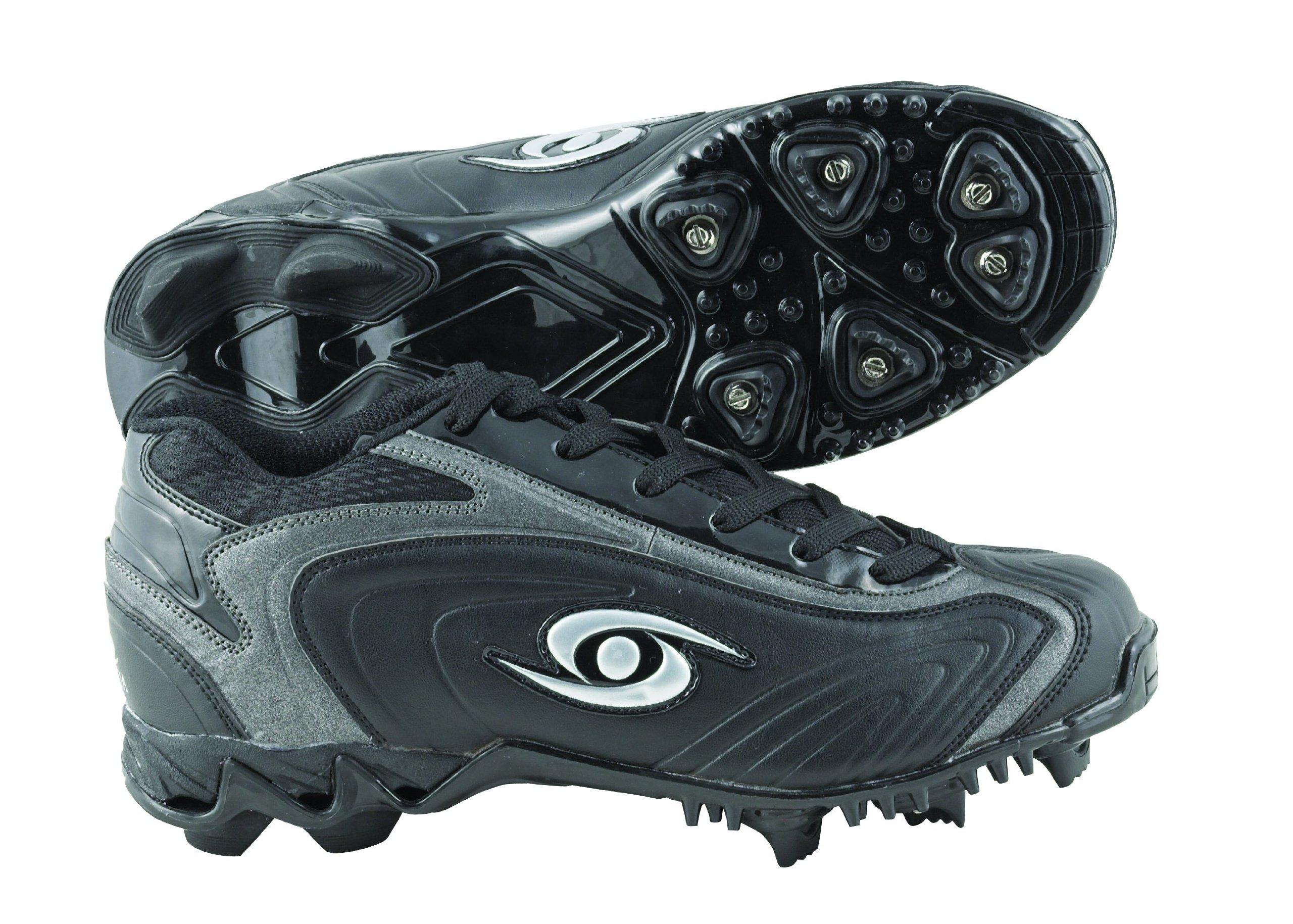 ACACIA Thunder-Mid Baseball/Softball Shoes, Black/Silver, 9.5 by Acacia