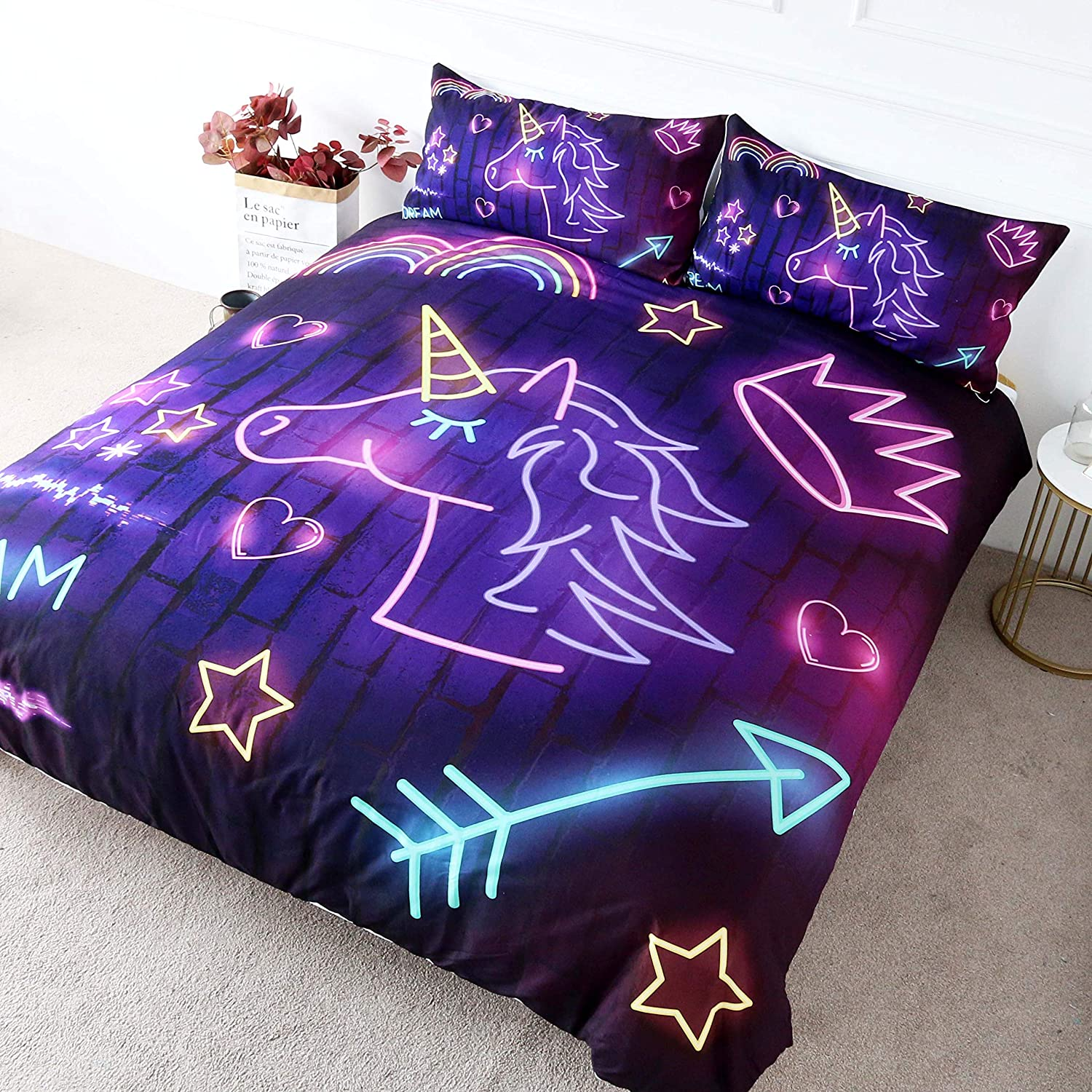 3-Piece-Purple-Unicorn-Designed-Neon-Duvet-Cover-Set-With-Colourful-Print