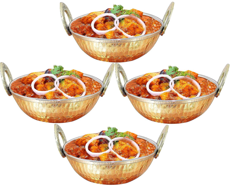 Copper Stainless Steel 34 OZ Serving Bowl Karahi for Ice Cream, Noodles, Salad, Cereal, Rice, Pasta, Fruit, Dessert, Handmade Hammered Style Heat Insulated Double Walled Multipurpose Bowl, 7.1 Inch SKAVIJ M-TK4