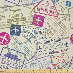 Ambesonne Travel Fabric by The Yard, Passport and Visa Stamps Illustration of Toronto Hong Kong Berlin Print, Stretch Knit Fabric for Clothing Sewing and Arts Crafts, 1 Yard, Eggshell Pink