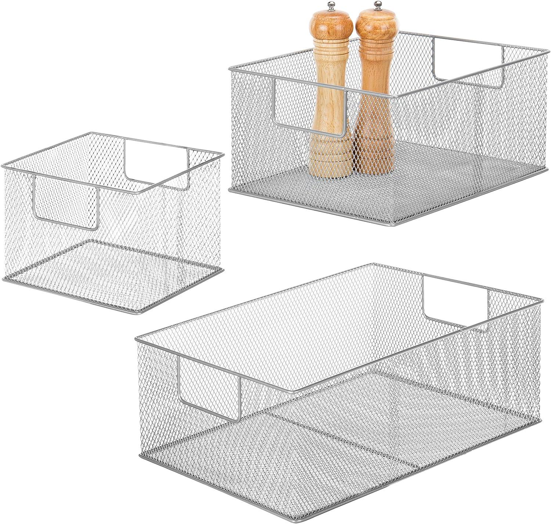 Modern Wire Nesting Storage Pantry Baskets with Handles, Shelf Bins Utility Organization, Set of 3