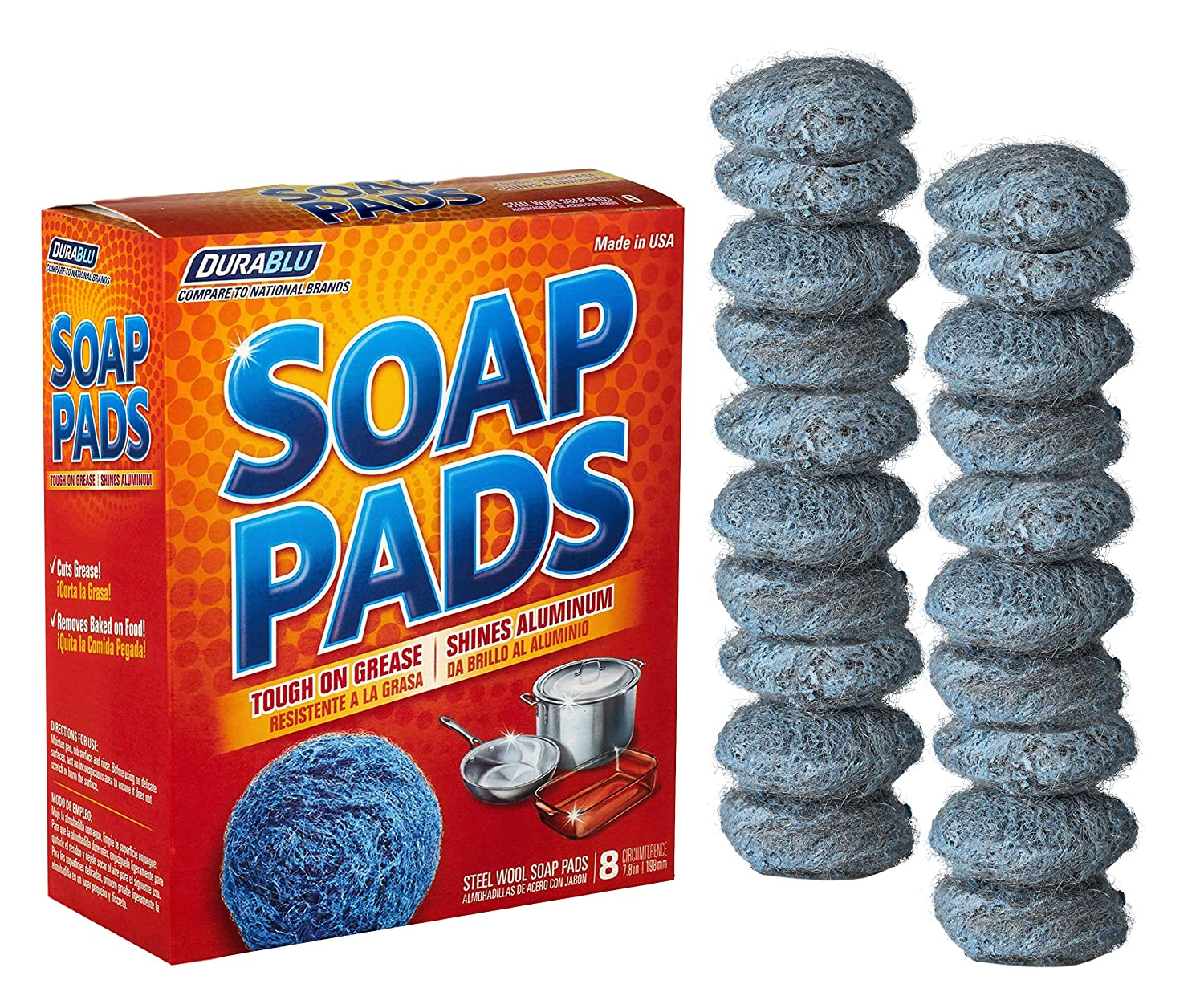 20 pack Steel Wool Soap Pads - Metal Scouring Cooktop Cleaning Pads used for Dishes, Pots, Pans, and Ovens - Pre-Soaped for Easy Cleaning of Tough Kitchen Grease and Oil