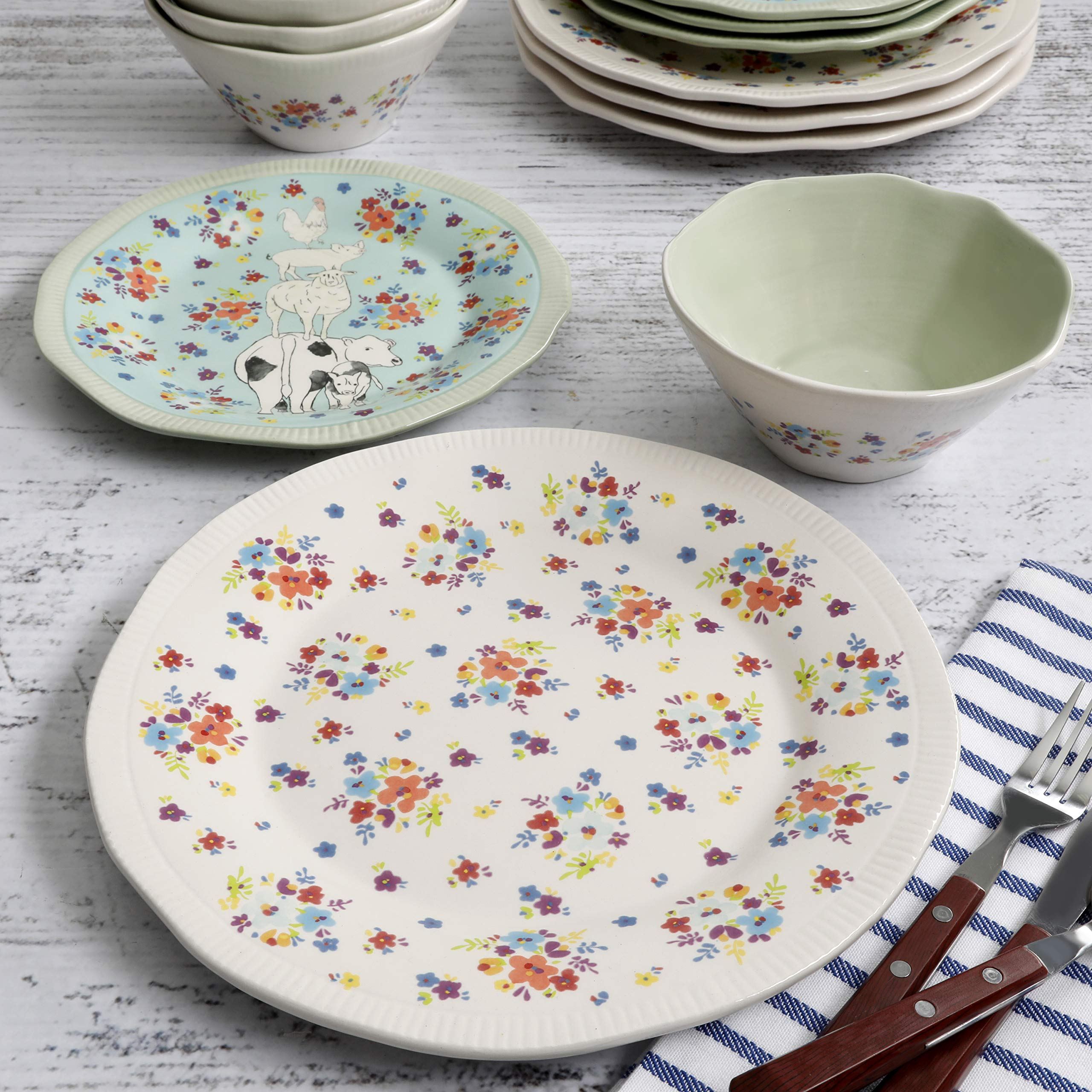 Urban Market by Gibson 99869.12RM Life on the Farm 12pc dinnerware set, Blue/White by Urban Market by Gibson (Image #2)
