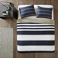 Comfort Spaces Quilt Coverlet Bedspread Ultra Soft Microfiber Stripes Pattern Hypoallergenic Bedding Set, CS14-0213, Fabric, Blue White, Twin/Twin XL