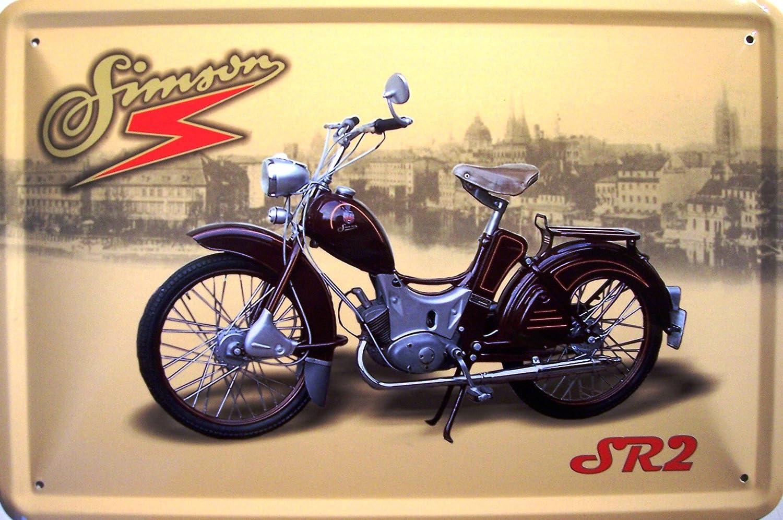 Simson Sr 2 Weinrot Motorrad Ddr Blechschild 20 X 30 Cm Küche Haushalt