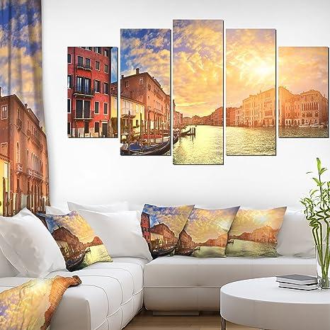 Design Art Majestic Sunset Over Venice Cityscape Artwork Canvas 60x32 5 Piece 60x32 5 Panels Diamond Shape Posters Prints