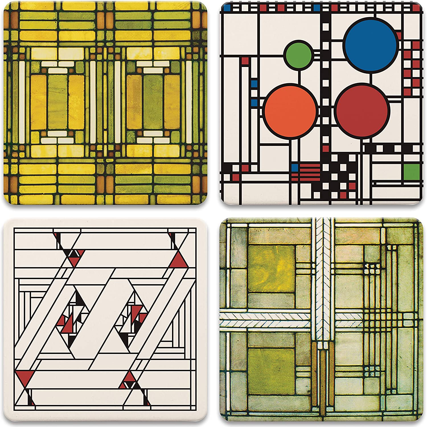 Amazon Com Coasterstone Absorbent Stone Coasters Frank Lloyd Wright Art Glass Designs Multi Colored Frank Lloyd Wright Gifts Coasters