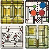 CoasterStone Absorbent Stone Coasters, Frank Lloyd Wright, Art Glass Designs, Multi-Colored