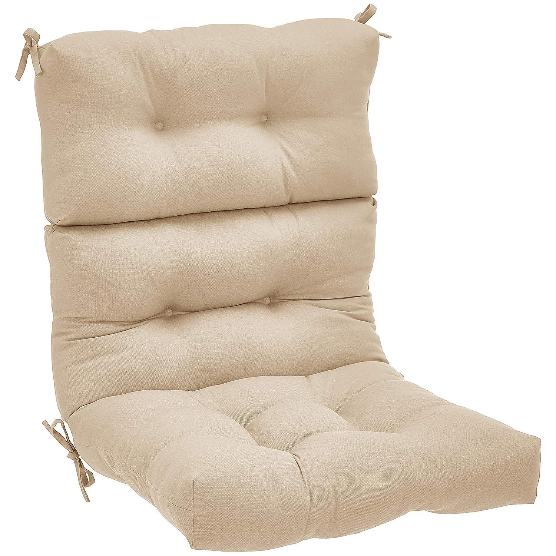 AmazonBasics Tufted Outdoor High Back Patio Chair Cushion- Khaki