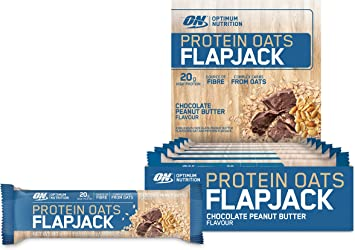 Optimum Nutrition Barra de proteína Oats Flapjack con Sabor de Chocolate y Manteca de Cacahuete - 12 unidades