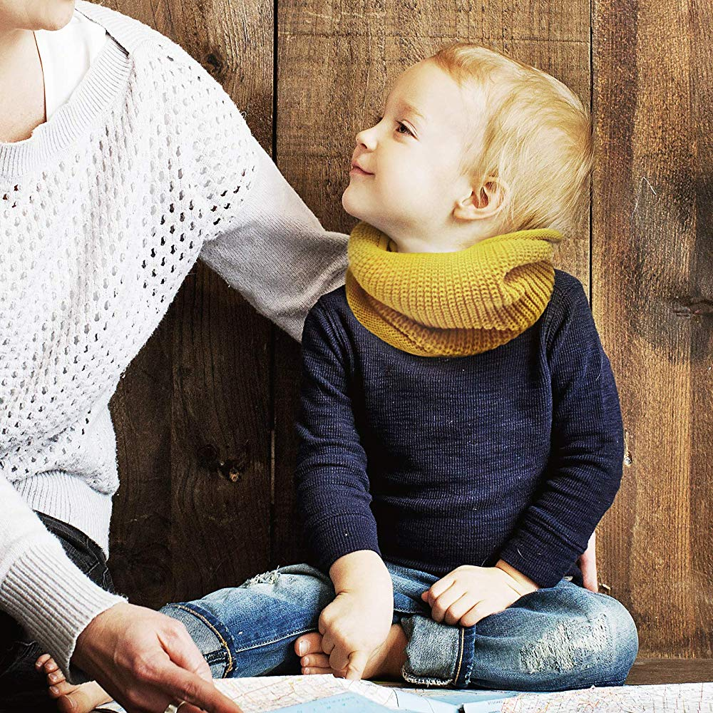 GS.Lee Toddler Kids Weave Knitted Loop Wraps Scarf Warm Infinity Neck Warmer